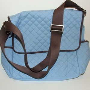 Milano Series Quilted Diaper Flap Bag Blue & Brown